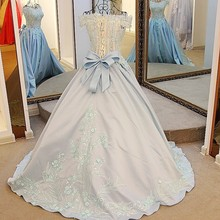 Elegant ball gown corset back satin dress