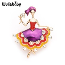 Inokeey Enamel Dancing Girl Flower Big Dress Brooches Women Bouquet 2019 Fashion Pins