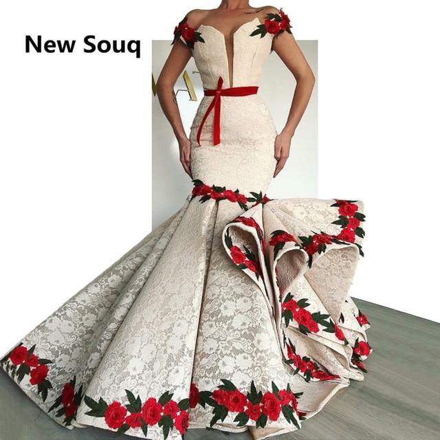 אופנתי תחרה בת ים שמלות נשף עם רוז פרח אשליה מחשוף שווי שרוולי שמלת ערב 2019 מסיבת שמלות Robe De Soiree