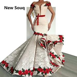 Image 1 - Stijlvolle Lace Mermaid Prom Jurken Met Rose Flower Illusion Hals Cap Mouwen Avondjurk 2019 Party Jurken Robe De Soiree
