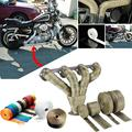10M Titanium Thermal Exhaust Header Pipe Tape Heat Insulating Wrap Tape Fireproof Cloth Roll With Durable Steel Ties Kit