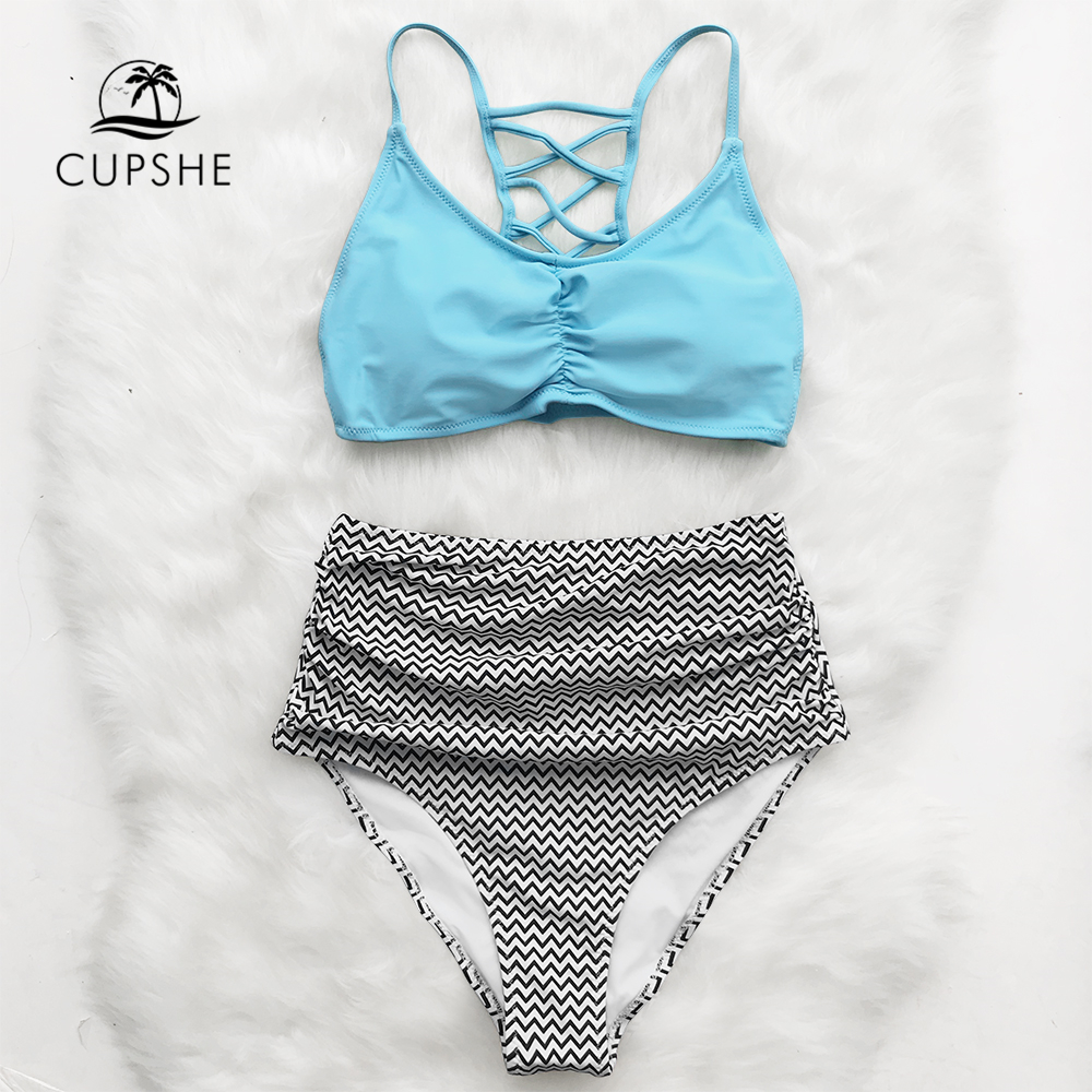 Cupshe Blue And Chevron Print High Waisted Bikini Sets