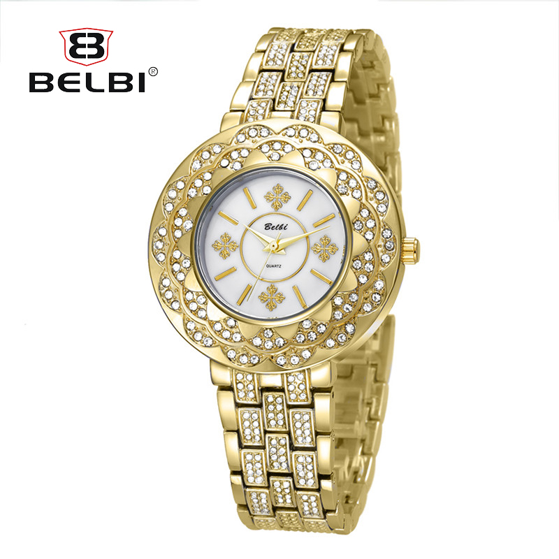 BELBI 2018 Famous Brand Gold Silver Casual Quartz Watch Women Stainless Steel Dress Women Watches Relogio Feminino Clock цена