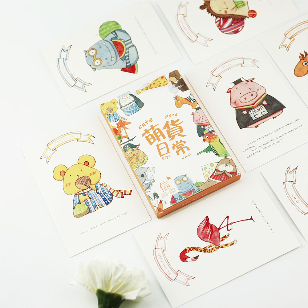 30pcs/lot Japanese Cute Cartoon Animals Kawaii Cartoon Postcards Cute DIY Envelop Gift Card Creative Bookmark