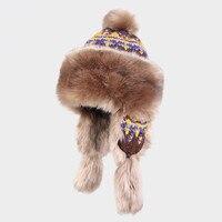 Kenmont inverno caldo ragazza delle donne della signora jacquard maglia faux fur bomber aviator trapper hat ski cap 1554