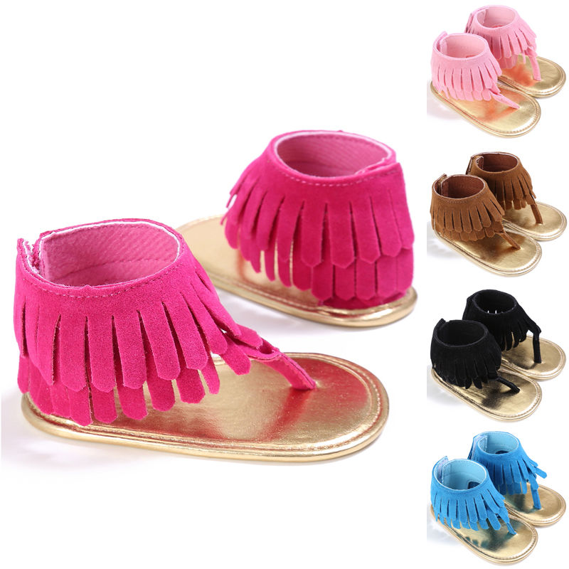 2017 Summer Newborn Infant Baby Kids Pram Crib Fringe moccasins Shoes Tassel Sandals