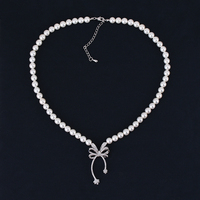 Very Girl Latest Design Ladies Wedding Jewelry Accessories Cz Crystal Bow Pendant Simulated Pearl Beads Necklace
