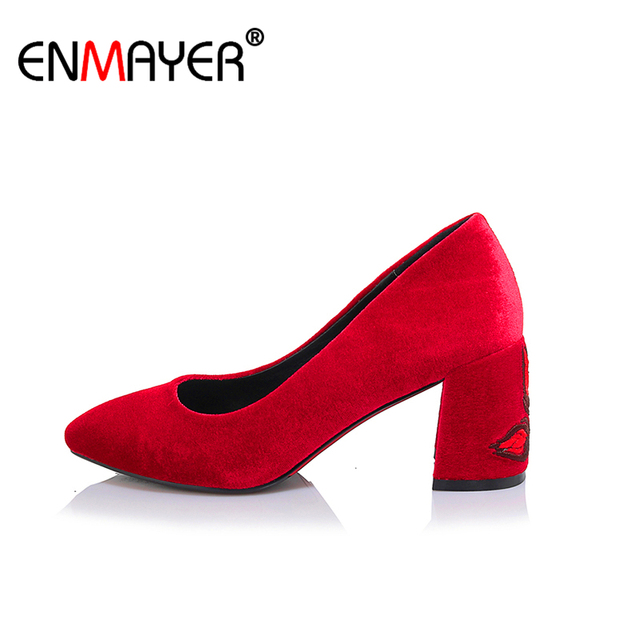 Enmayer Embroirder Flock Chunky Heels Red Office Dance Shoes High Round Toe Spring Summer