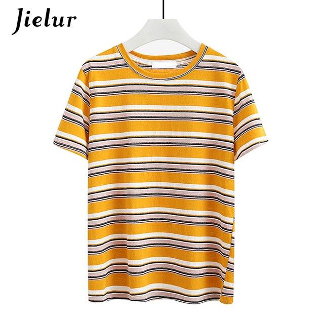 6b6dd0cfd Jielur Hit Color Summer Yellow Striped T Shirt Women Loose Harajuku T-shirt  Casual Basic