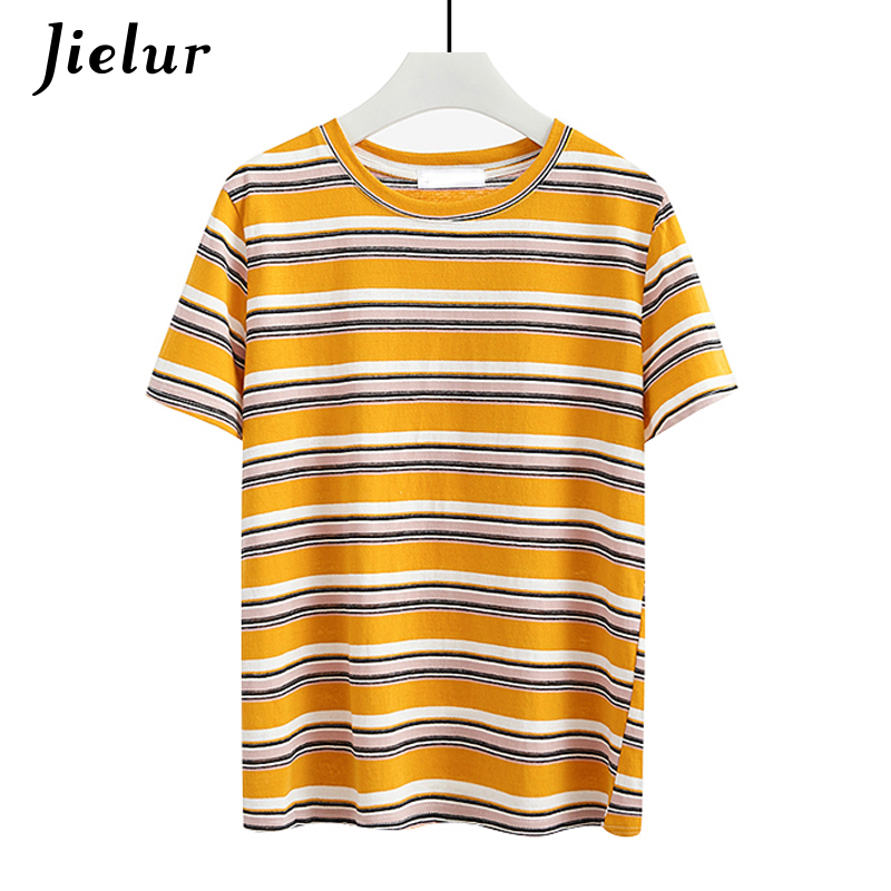 Jielur Hit Color Summer Yellow Striped   T     Shirt   Women Loose Harajuku   T  -  shirt   Casual Basic Korean Fashion Tee   Shirt   Femme Dropship