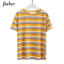 Jielur Hit Color Summer Yellow Striped T Shirt Women Loose Harajuku T-shirt Casual Basic Korean Fashion Tee Shirt Femme Dropship