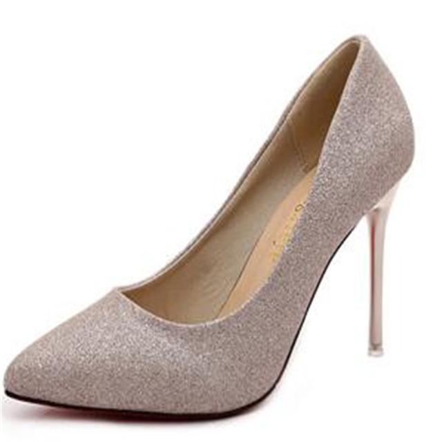 2016 zapatos de Primavera y Otoño de Las Mujeres de lentejuelas de tacón alto zapatos con puntas de plata fina delgada sexy negro de la boda zapatos 10.5cmXL02