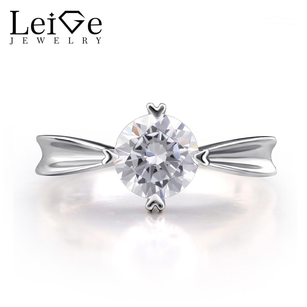 Leige bijoux Moissanite anneaux pour femmes ronde coupe en argent Sterling 925 bijoux fins pierres précieuses Engagement promesse anneaux