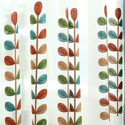 Haute qualité corail brodé Voile rideaux feuilles Tulle fenêtre rideau Cortinas rideau pour salon para cortina de quarto C37