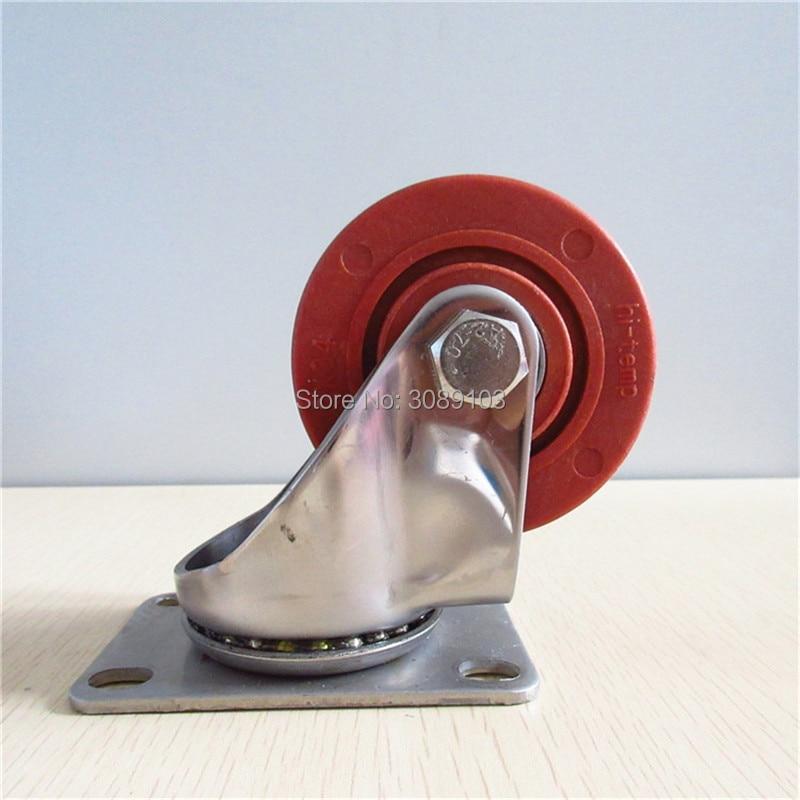 4 pcs aço Inoxidável 304 rodízios fenólicos rodízios rodízios de aço Inoxidável de alta temperatura resistente do rodízio rodas
