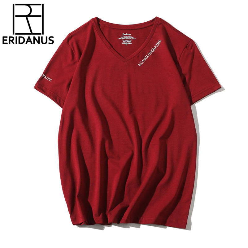 2018 Hot Sale T-Shirts New Summer Spring Short Sleeves High-Elastic Mens V Neck Tee Boy Hip hop Skate Tops High Quality X689