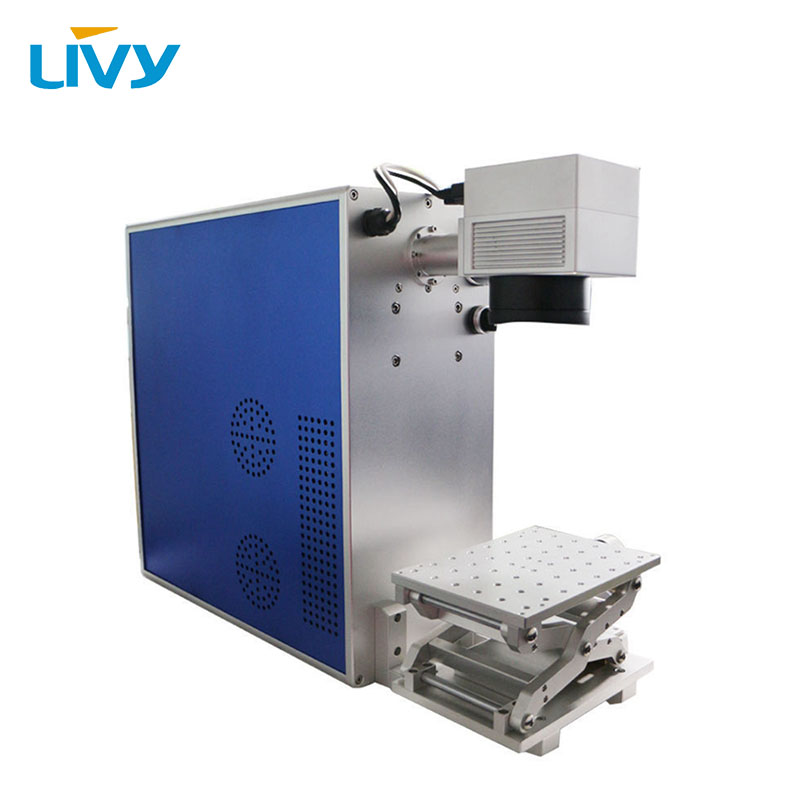 LIVY free shipping to Russia! 50 watt laser source metal engraving machine fiber laser marker with free laptop 2D working table