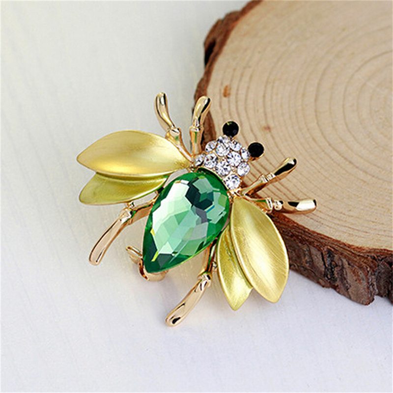 Bee Brooch Corsage Insect Brooches For Women Big Green Fly Mosquitoes Shirt Gold Enfeites Para Festa Broche Jewelry
