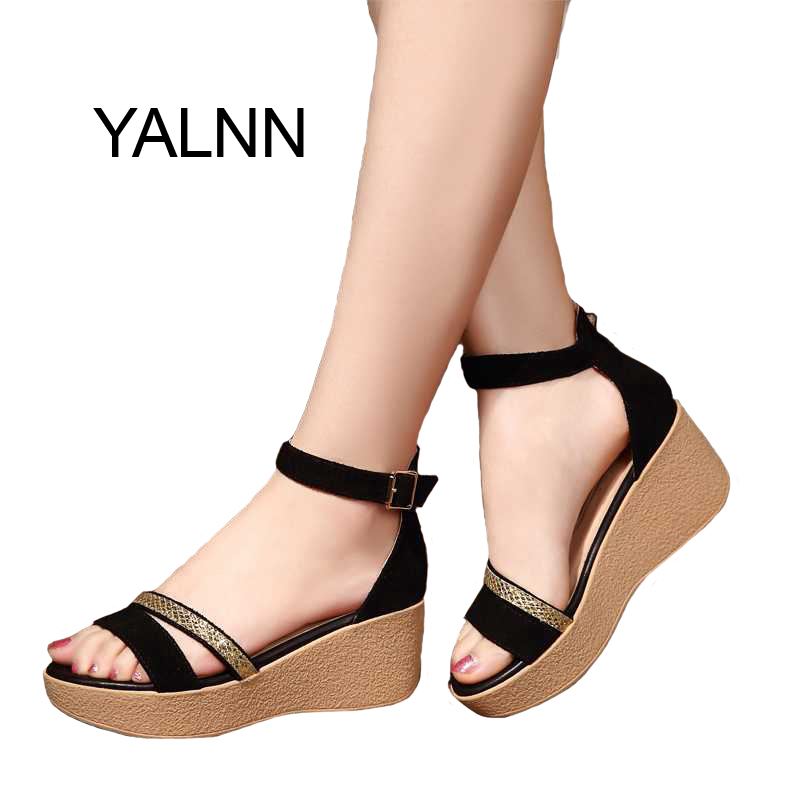 YALNN Summer Hot Fashion New Black Women Sandals Female Shoes for Women Nubuck Leather Trifle Shoes