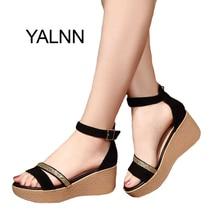 YALNN lato Hot moda nowe czarne kobiety sandały buty damskie dla kobiet skóra nubukowa drobiazg buty