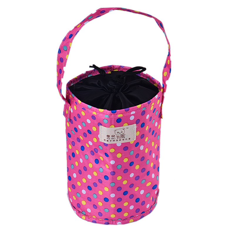 Kid Women Men Thermal Insulated Tote Lunch Bag Oxford Fabric Pouch Cylindrical Lunch Box For Work School Printing Colorful Dots