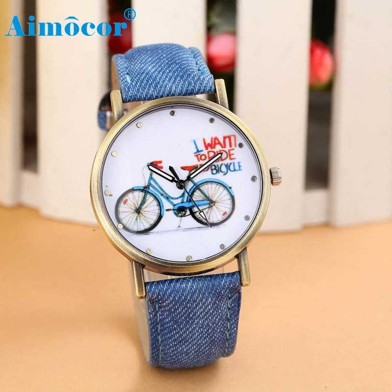 2017 Newly Designed Relogio Feminino Clock Women Fashion Denim Leather Strap Watches Bicycle Pattern Gift Hot Dropship 627