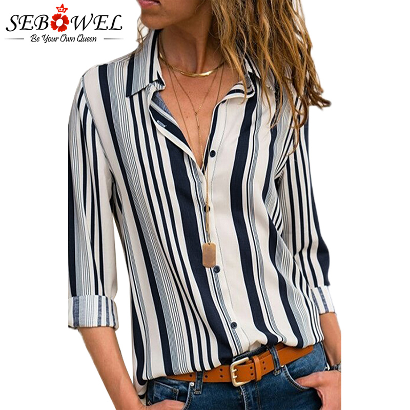 2018 Summer Striped Women Tops and Blouse Plus Size Casual Female Shirts Loose Office Ladies Workwear Blouse Shirts Tops SEBOWEL