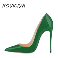Green Shoe Heel Sexy Woman High 12 cm Stilettos Women Party Brand Designer Shoes Patent leather Pointed Toe QP055 ROVICIYA
