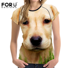 FORUDESIGNS Women's T-shirts Fitness Sport Women Tees Cute Labrador Dog Printing Outdoor Flexible Running Althetic Clothes Tops