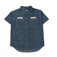 New Summer Men Vintage Cargo Shirt Short Sleeve Stripe Denim Shirt 100% Cotton Casual Top Mens Clothing
