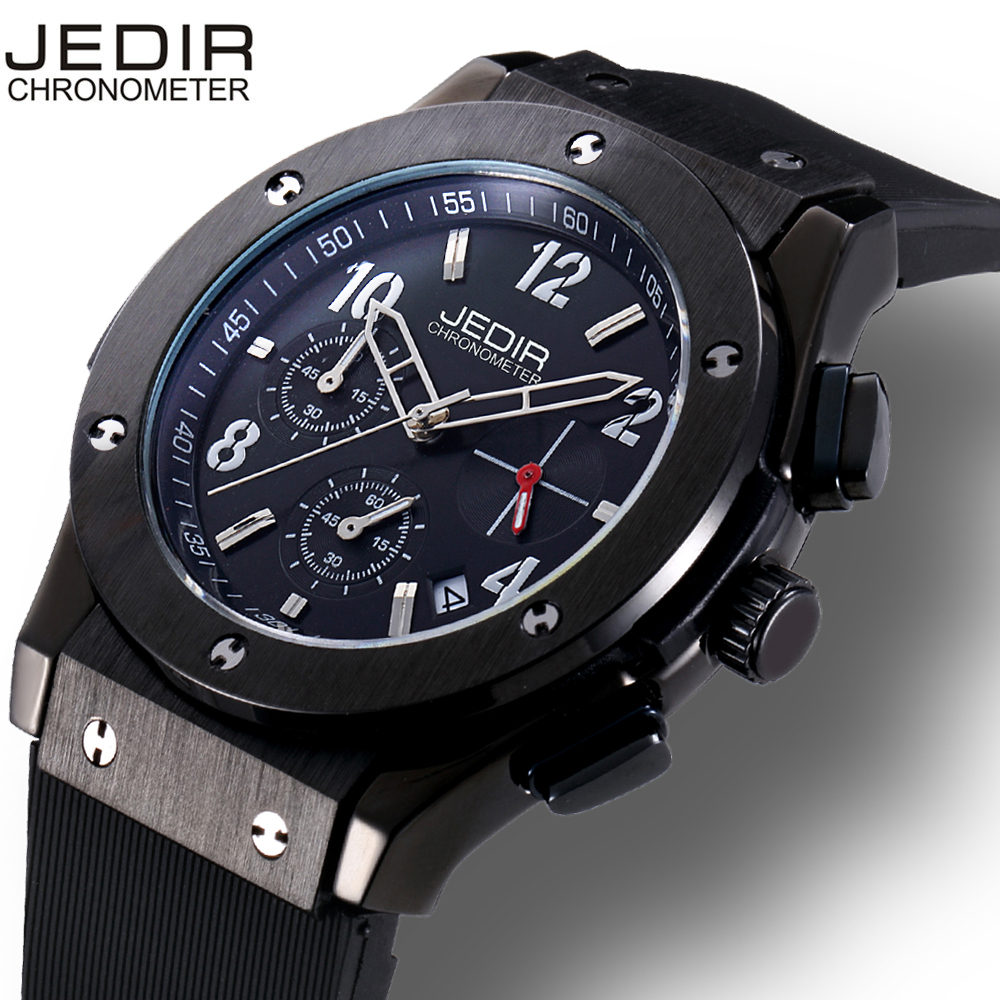JEDIR Brand Men Watch Number&Nail Shape Scale Quartz Movement Multifunction Sub Dials Calendar Luminous Hardlex Window aiyuqi2018 new genuine leather women summer sandals comfortable fish casual mouth plus size 41 42 43 mother sandals shoes female