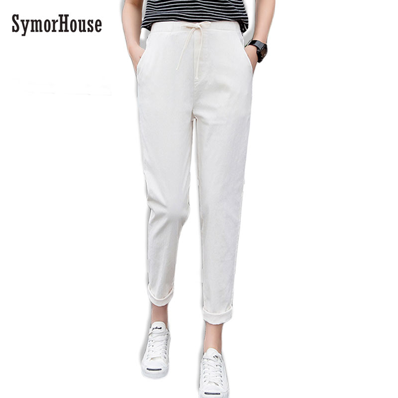 SymorHouse Cotton Linen   Pants   for Women Trousers Loose Casual Solid Color Women Harem   Pants   Plus Size   pants     Capri   Women's Summer