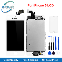100PCS/LOT Full Set LCD Display For iPhone 5 Touch Screen Digitizer with Front Camera+Home Button AAA+++ Tools+Tempered Glass