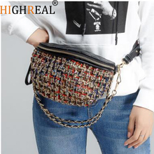 Multi Use Tweed Check Quilted Plaid Chain Waist Bags Shoulder Crossbody Bags Fashion Vintage Women Female Street Rock Phone