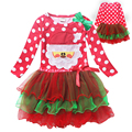 New 2016 Christmas Girl Dress Red Long Sleeved Autumn Dot Snowman Dress Baby Clothes Cotton Christmas Party Costume Kids Clothes