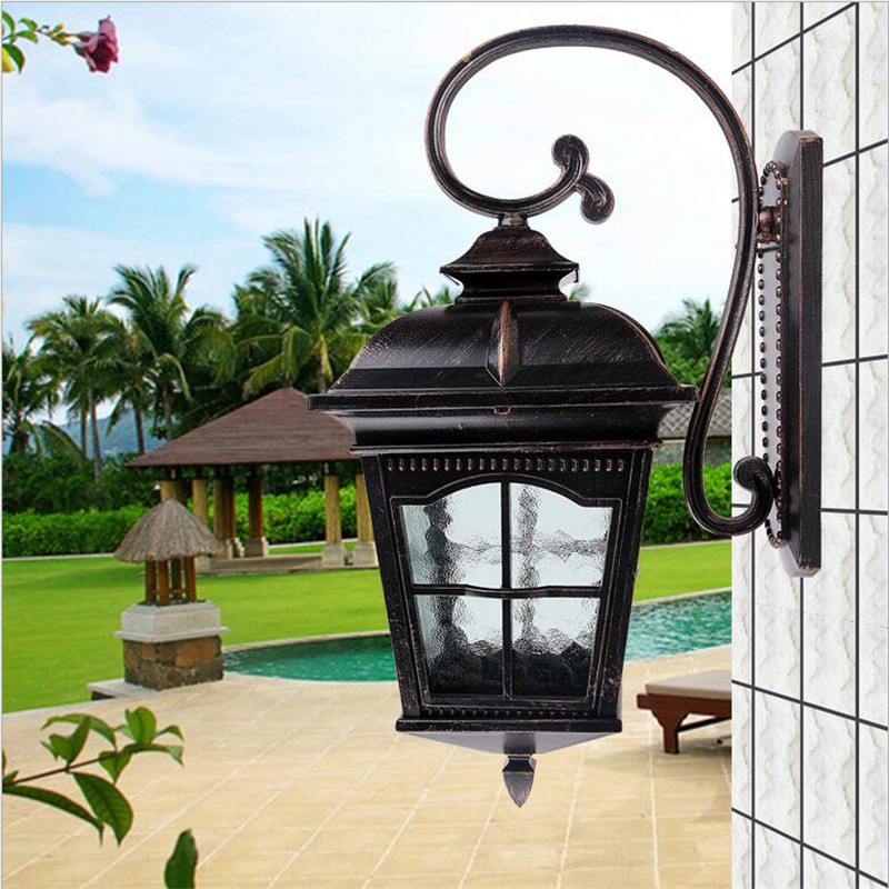 NEW High End Cottage Europe Waterproof H 54cm Iron Glass E27 Outdoor Wall Lamp for Garden Balcony Street Porch Light 1437 vintage retro european cottage iron glass led e27 outdoor wall lamp for garden park house entrance waterproof porch light 2019