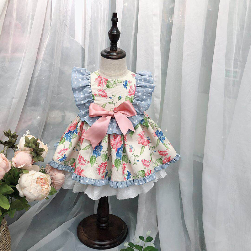 Roimyal Wholesale 2019 fashion Spanish dress small flying sleeves contrast color print doll princess dress free