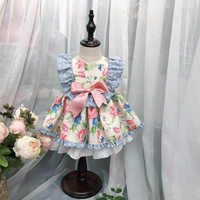 Roimyal 卸売 2019 ファッションスペインドレス小フライング袖のコントラストカラープリント人形プリンセスドレス送料無料