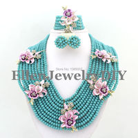 Lake blue Crystal Necklace Set African Jewelry Sets African Crystal Beads Jewelry Sets for Wedding Free Shipping W8055