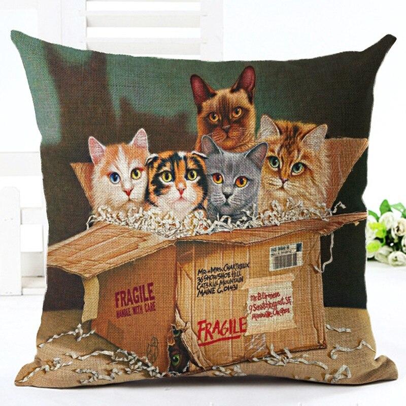 Retro Vintage Yang Indah Indah Kucing Bantal Kasus Untuk 18 'Bantal Selimut Penutup Katun Linen Bantal Persegi Sarung Bantal