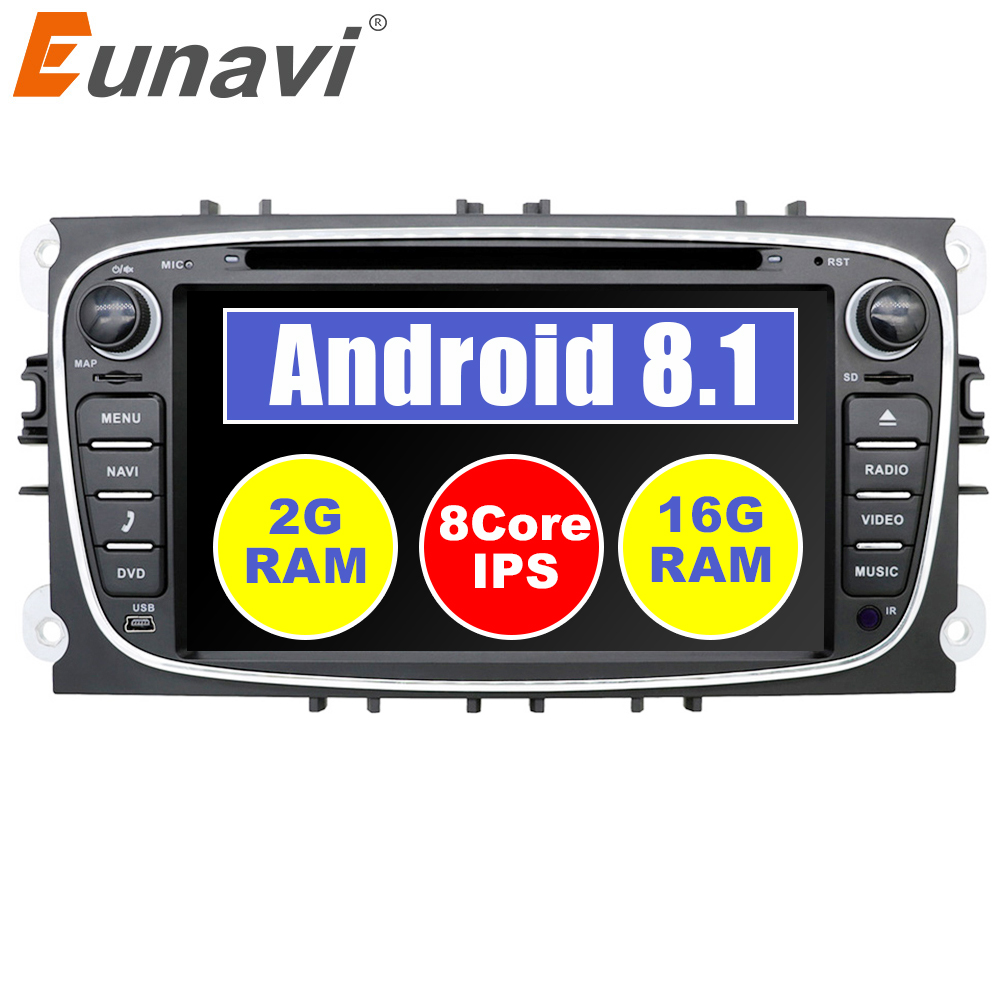 Eunavi 2 din 7'' Android 8.1 Quad Core Car DVD Player Radio Stereo GPS Navi for Ford Focus Galaxy Audio wifi Head Unit 1024*600