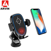 Arvin Qi Car Wireless Charger For iPhone 8P X XR Samsung S10 S9 Infrared Induction Fast Charging Phone Holder Stand