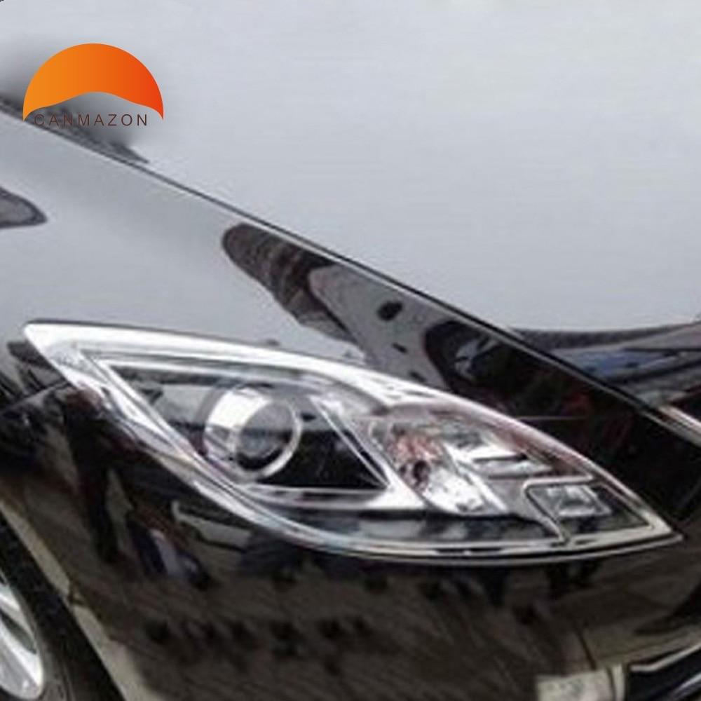for mazda 6 2009 2010 2011 2012 sedan 4 door abs chrome front lamp cover headlight trim shells. Black Bedroom Furniture Sets. Home Design Ideas