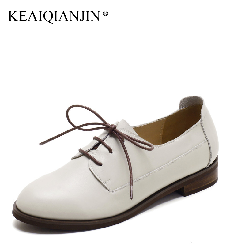 KEAIQIANJIN Woman Genuine Leather Derby Shoes Plus Size 33 - 43 Spring Autumn Flats Casual Lace-Up Genuine Leather Oxfords 2017 keaiqianjin woman sheepskin flats black red silvery plus size 33 41 spring autumn derby shoes lace up genuine leather shoes