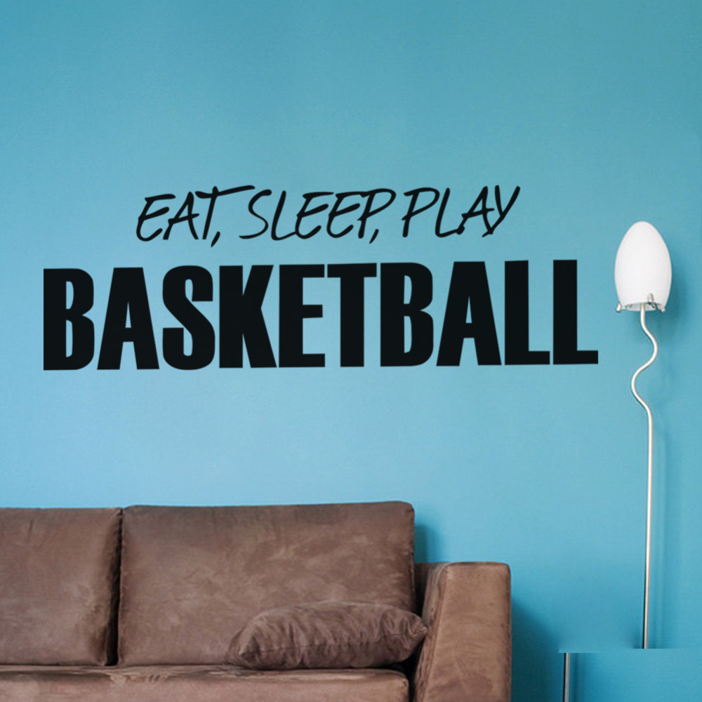 Quotes About Play Wall Sticker Quotes Art Home Decor Eat Sleep Play Basketball Art