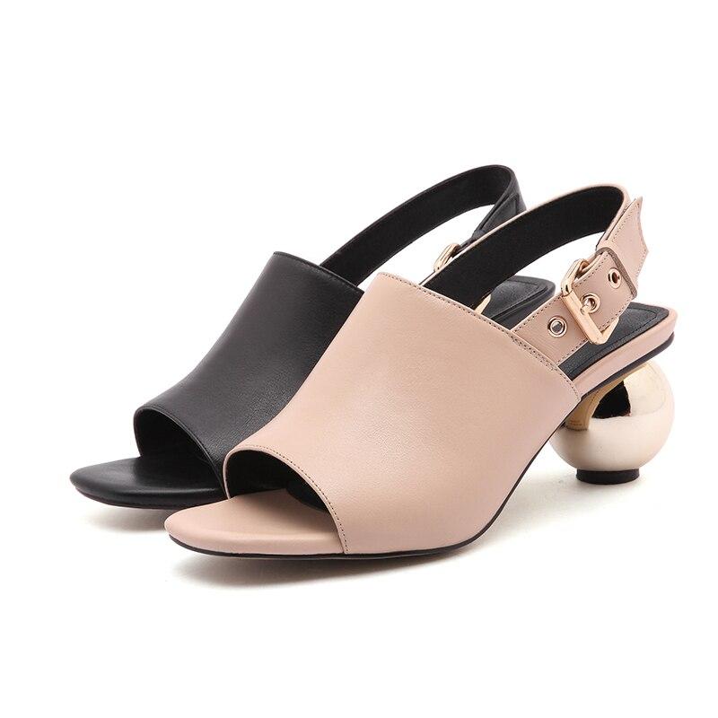 D070 D'été Vache bout Peep Abricot 2018 Asysplnx Marque De Boucle Femmes Noir Chaussures En toe Apricot Talon Sandales Med Cuir Carré Mode black E70RqFw7