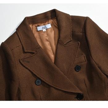 AEL Women Winter Autumn Plaid Woolen Suit Jacket 2017 Grace Female Coat Fashion Lattice Slim Waist Office Lady Clothing 4