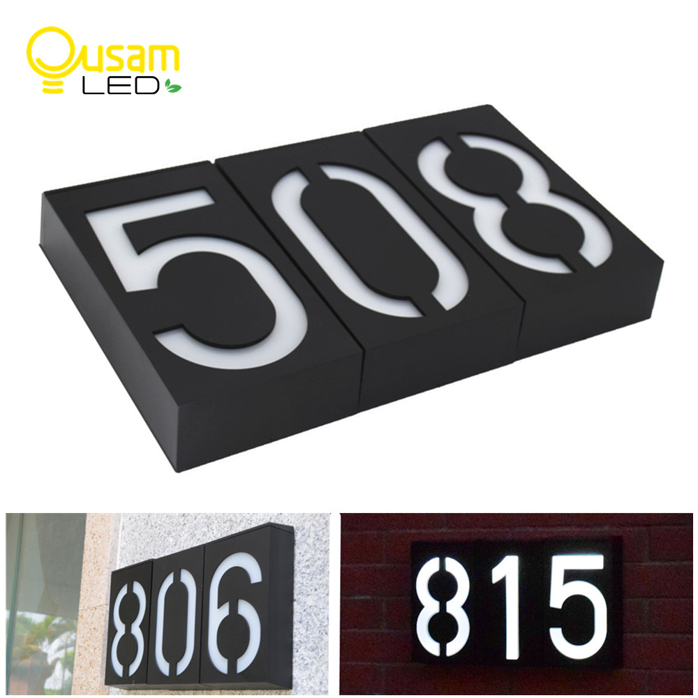 Solar Light LED House Number Doorplate Address Lamp House Number Outdoor Lighting Porch Lights With Solar Rechargeable Battery(China)