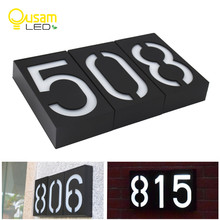 Solar Light LED House Number Doorplate Address Lamp House Number Outdoor Lighting Porch Lights With Solar Rechargeable Battery