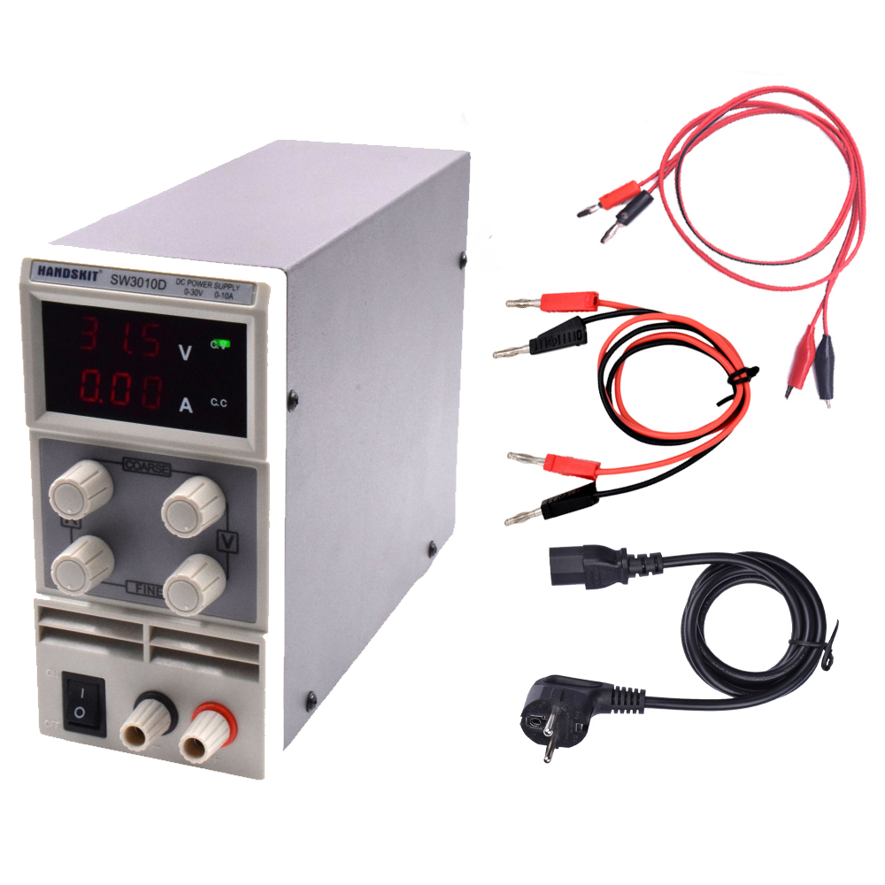 Adjustable Power Supply SW3010D Digital DC Regulator Adjustable Power Supply 30V 10A 110V-220V Voltage Switching Rework Station original lw mini adjustable digital dc power supply 0 30v 0 10a 110v 220v switching power supply 0 01v 0 01a 34 pcs dc jack